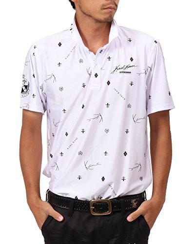 [カールカナイ ゴルフ] Karl Kani GOLF ポロシャツ モノグラム 総柄 カラー ドライ ポロシャツ 182KG1212 ホワイト XLサイズ