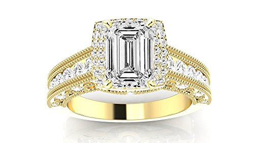 14K Yellow Gold 4.15 CTW Vintage Halo Style Channel Set Round Brilliant Diamond Engagement Ring Milgrain w/ 3.4 Ct GIA Certified Emerald Cut I Color VS1 Clarity Center (3.4 Ct Round Diamond)