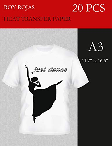 Roy Iron On Transfer Paper 20 Sheets for Light Color T-Shirt, 17