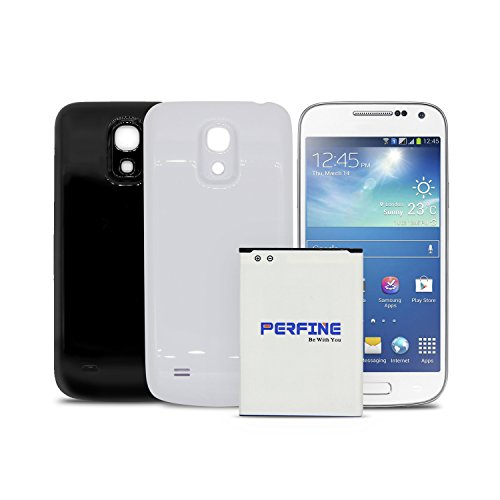 Perfine 3800mAh Samsung Galaxy S4 mini Extended Battery for GT-I9190 GT-I9192 GT-I9195 Battery Replacement with 2 Back Cover(Black-White)