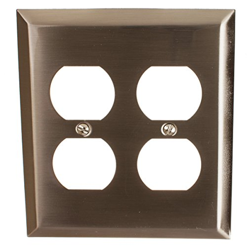 GlideRite Hardware Wall Plate Cover for Double Duplex Outlet – Steel 2-Gang Square Beveled Dual Receptacle for Kitchen, Bathroom or Living Room (Double Duplex, Brushed Nickel finish)