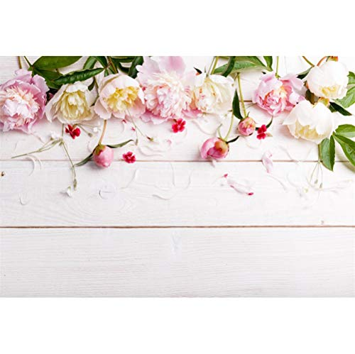(Laeacco 7x5ft Vinyl Beautiful Peonies Edge Petals Rustic White Wood Plank Backdrops Valentine's Day Background Child Adults Girls Lovers Couple Portraits Shoot Wedding Photo Studio Greeting Card)