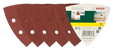 Bosch 2607019489 Lot de feuilles abrasives pour Ponceuse 25 ABRASIFS DELTA 93 GRAIN 80 .