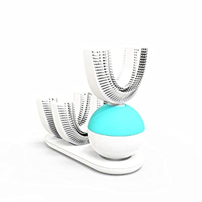 Healifty Automatic Electric Toothbrush Ultrasonic U-Shape Rechargeable Teeth Whitening Adults 360 Degree Clean (White)