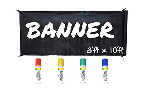 WHATUP Banner Kit by Glass Chalk - 1 black blank banner, 4 clips, rope, 4 primary color markers ()