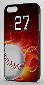 Flaming Baseball Sports Fan Player Number 27 Black Plastic Decorative iPhone 6 PLUS Case
