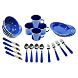 24pc Enamel Camping Tableware Set With Stainless Steel No Chip Edge