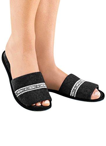 Amerimark Damessandalen Badstof Pantoffels Van Dames Voor Dames Synthetische Pantoffels Zwart