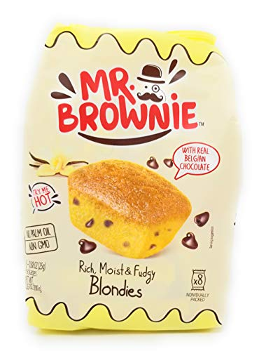 - Mr Brownie - Rich Moist Fudgy - Non GMO - No Palm Oil - 3 Pack -24 Individually Packed Total - Blond Brownies