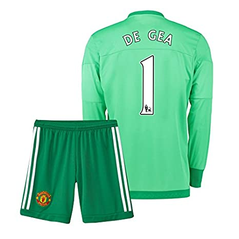 4a74e67a3b2 UKSoccershop 2015-16 Manchester United Home Goalkeeper Mini Kit (David De  Gea 1)  Amazon.co.uk  Sports   Outdoors