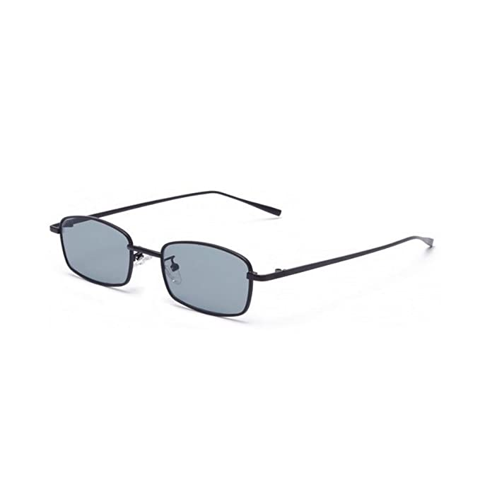 e178ff8852c MINCL Unisex Small Rectangle Sunglasses Red lens Yellow Metal Frame Clear  Lens Sun Glasses (