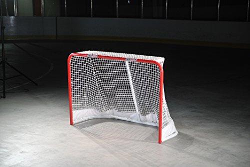 HOCKEYSHOT Goal Red Posts White Net Full Size Hockey Training Aids by HockeyShot