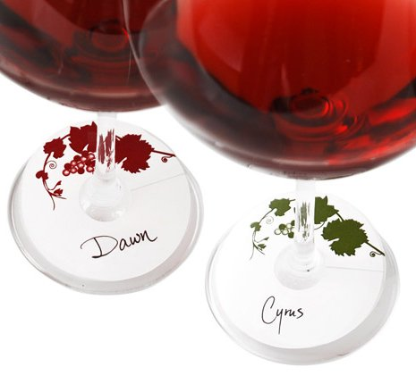 Vine Pattern Paper Wine Glass Tags, Set of 48, Red and Green