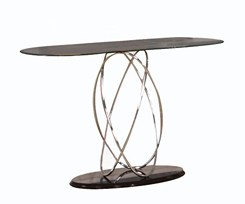 ACME Deron Chrome and Glass Sofa Table Acme Glass Sofa Table