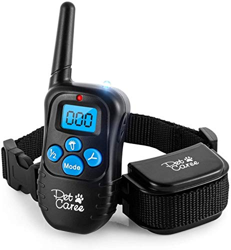 Dog Training Collar, 100% Rainproof Rechargeable Electronic Remote Dog Shock Collar 330 Yards with Beep/Vibrating/Shock Electric E-Collar