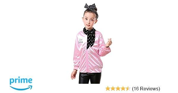 69d1c756bafa Amazon.com  Tdmall Child 50 s T-Bird Danny Pink Ladies Jacket ...