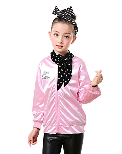 Tdmall Girls 50's T-Bird Danny Pink Ladies Jacket Costume with Scarf -