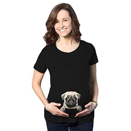 (Maternity Pug in A Pouch Tshirt Funny Pet Puppy Dog Pregnancy Tee (Black) - XL)