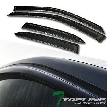 Topline Autopart Smoke Window Visors Deflector Vent Shade Guard 4 Pieces For 99-03 Mazda Protege 4 Door (03 Mazda Protege 4 Door)