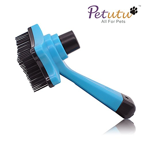 Dog Brush Professional/Slicker Brush/ Plastic Cats Grooming & Cleaning Tool.For Small,Medium & Large Pets With Short or Long Shedded Hair By Petutu® ( Sky Blue )