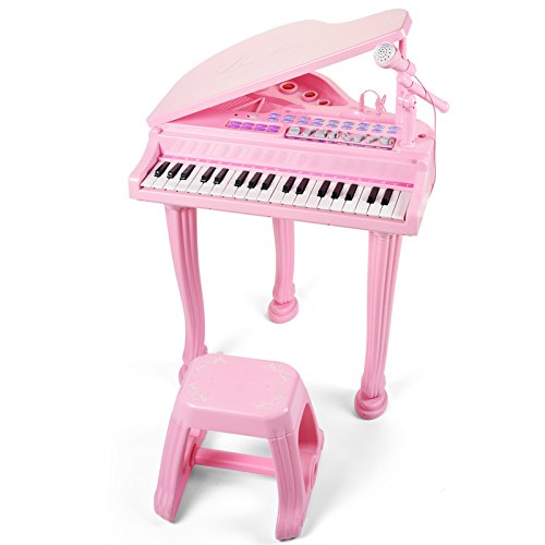 Princess Piano Pink Grand Musical Multifunction Electronic Keyboard with Bench and Microphone for Baby Girl Child Toddlers 37 Key by Mallya