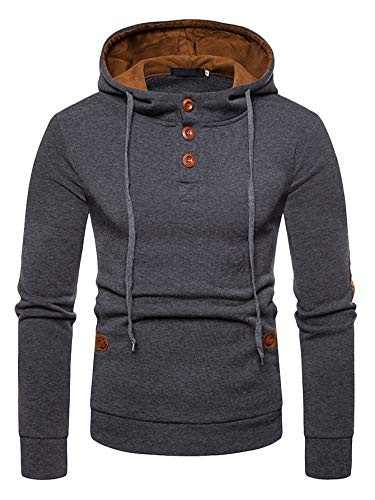 (SweatyRocks Men's Pullover Casual Lightweight Patched Button Front Fleece Hooded Sweatshirt Grey)