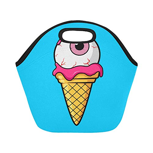 Insulated Neoprene Lunch Bag Ice Cream Cone Pink Eyeball Large Size Reusable Thermal Thick Lunch Tote Bags Lunch Boxes For Outdoor Work Office School ()
