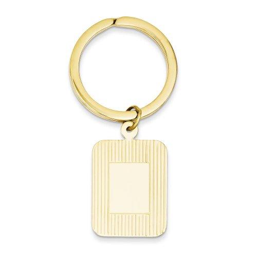 FindingKing 14K Yellow Gold Engravable Rectangle Key Ring