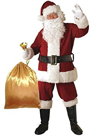 [Men's Deluxe Santa Suit 10pc. Christmas Adult Santa Claus Costume Red . Cosplay Apparel Christmas] (Mickey And Minnie Costumes Adults)