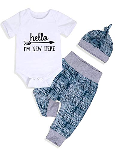 Newborn Baby Boy Clothes to The Crew Letter Print Romper Long Pants Hat 3PCS Outfits Set(0-3 ()