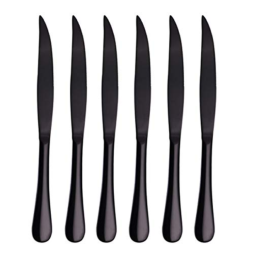 Steak Knife Set, Onlycooker Heavy Duty Knives Stainless Steel 6 Piece 9-inch Table Flatware Silverware Dishwasher Safe Use for Home Kitchen or Restaurant (Black)