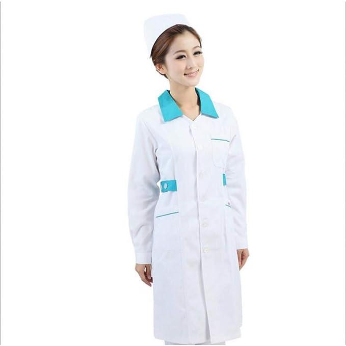 ESENHUANG White Medical Uniforms Hospital Lab Coat Corea Womens Hospital Ropa Médica Uniforme Breathable Work Wear Blusa Larga: Amazon.es: Ropa y accesorios