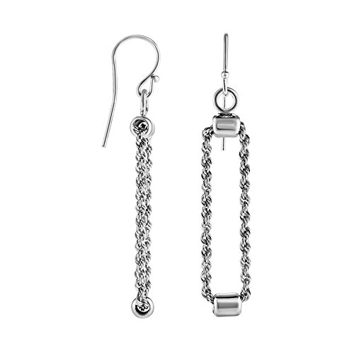 Sterling Silver Finish Rhodium Diamond-Cut Rectangular Drop Earrings, Euro Wire Clasp