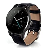 NXDA K88H Genuine Leather Heart Rate Blood Pressure Monitor Wrist Metal Pointer Bluetooth Connection Waterproof Bluetooth Smart Watch Wristwatch for iOS Android Smartphones (Black)