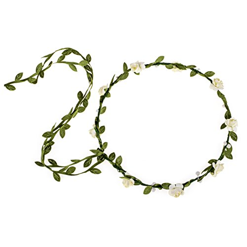 June Bloomy Paper Rose Flower Headband with Tail Boho Floral Crown Wreath (Ivory)