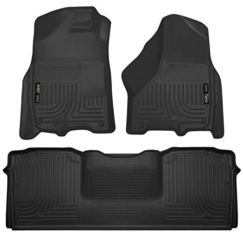 Husky Liners 99041 Black Weatherbeater Front & 2nd Seat Floor Liners Fits 2010-2018 Dodge Ram 2500/3500 Mega Cab