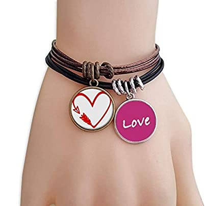 Metftus Red Design Arrow Heart Illustration Love Bracelet Leather Rope Wristband Couple Set Estimated Price -