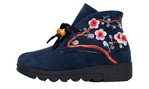 Tianrui Crown Women And Ladies The Peach Blossom Embroidery Short Ankle Boot Shoe (01 Peach Blossom)