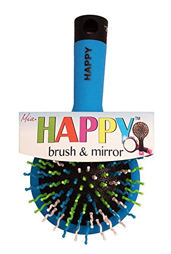 Kmart Mirror (Mia Happy Brush-Detangling Wet Brush With Mirror On Back Side-Blue WIth Blue, Green, And White Colored Curvy Rainbow Bristles And Black End-Measures 6