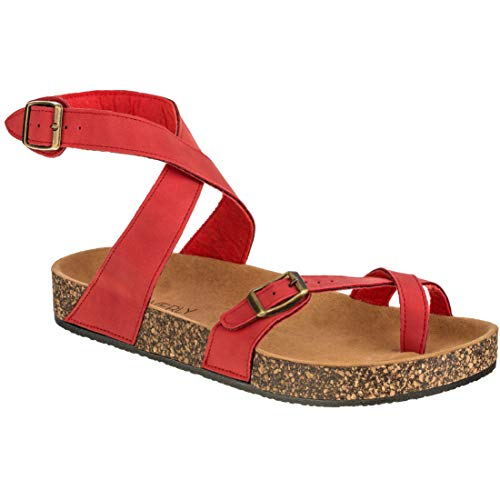 - CLOVERLY Women's Sandals Slip On Ankle Wrap Cork Sole Footbed Platform Slide Sandal with Buckle (7 M US, Red)