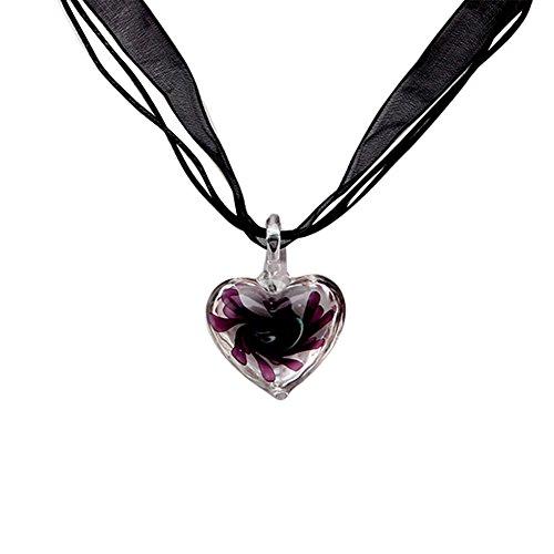 SCASTOE Fashion Murano Glass Pendant Necklace Purple Heart Flowers Ribbon Pendant (Pendant Heart Murano Purple)