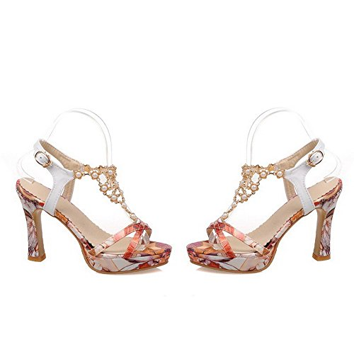 AmoonyFashion Womens Buckle High Heels Pu Assorted Color Open Toe Sandals White OAgQt76IX