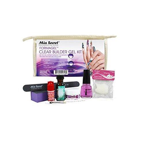Clear Builder Gel Kit: Primer, Clear Builder Gel, Nail Glue, Ultra Gloss Top Coat, 20 Nail Tips, Nail Brush, Emery Block, Nail File -
