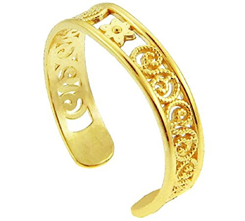 Floral Toe Ring (Yellow Gold Floral Toe Ring (10K Gold))