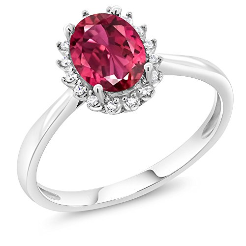 White Gold Pink Tourmaline Ring (10K White Gold 0.70 Ct Oval Pink Tourmaline AA Engagement Ring with Diamonds (Ring Size 7))