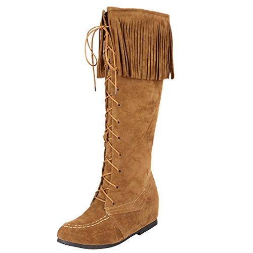 AIYOUMEI Damen Flach Kniehohe Stiefel mit Schnürung Bequem Fransenstiefel Schuhe Khaki