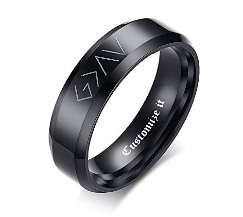 - Custom Personalized Band Ring for Men God is Greater Than The Highs and Lows Christian Symbol Promise Ring Black