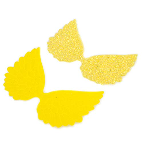 (Glitter Fabric Angel Wings Embossed Angel Wing Appliques for DIY Craft Project, Hair Accessory - Pack of 10 PCS (Glitter)