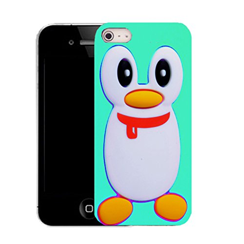 """Mobile Case Mate IPhone 6 4.7"""" clip on Silicone Coque couverture case cover Pare-chocs + STYLET - AQUA PENGUIN pattern (SILICON)"""