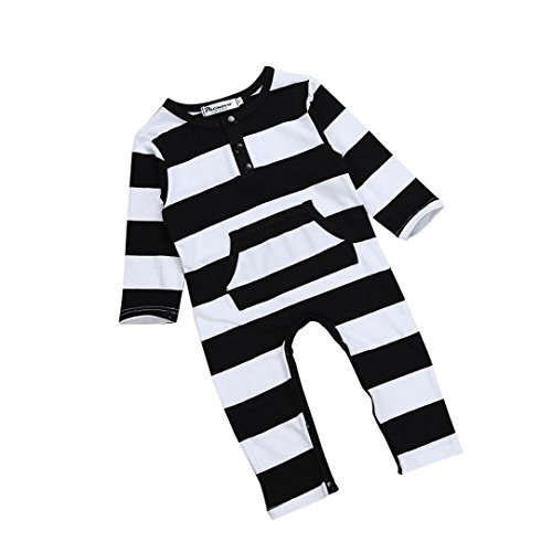 Switchali Baby Bekleidungssets Baby Junge Mädchen Kleidung Baumwoll Body gestreiften Outfit (0-6M, Schwarz)